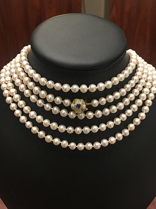Extra Long 215cm Pearl Necklace with Gold, Diamond & Sapphire Clasp