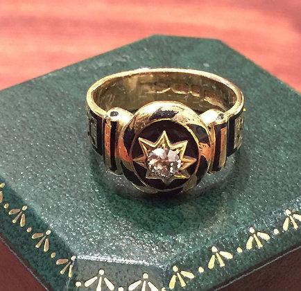 An Antique 18K Yellow Gold, Black Enamel & Diamond Memorial Signet Ring