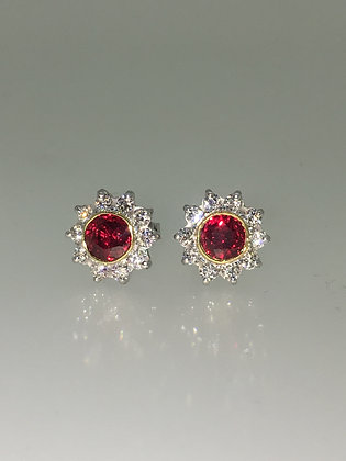 Pigeon Blood Ruby & Diamond Stud Earrings in 18K Gold