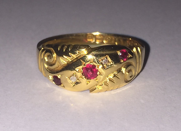 An Antique Gold, Ruby and Diamond ring