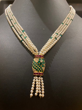 Pearl, Emerald, Ruby & Diamond Necklace in 18K Yellow/Rose Gold