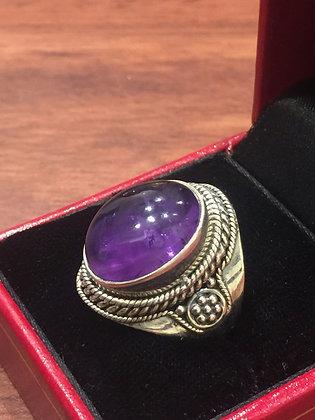 925 Sterling Silver Amethyst Vintage Ring