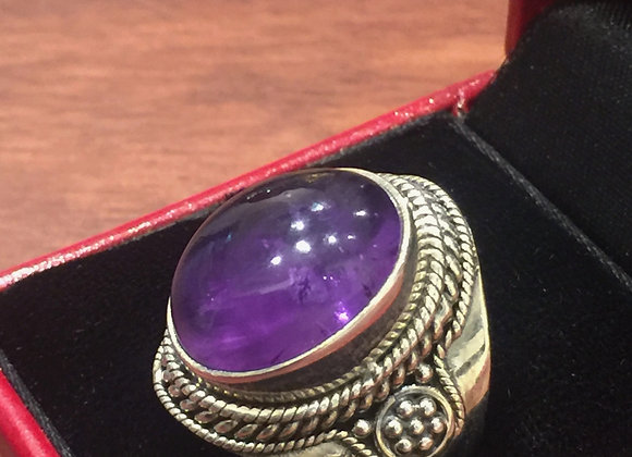 925 Sterling Silver Amethyst Vintage Ring