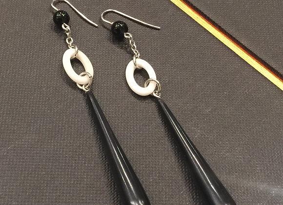 Gold, Black Onyx & White Agate Drop Earrings