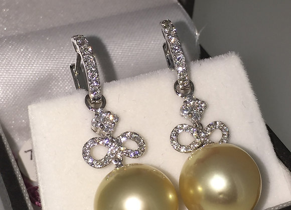 South Sea Pearl & Diamond Pendant Earrings
