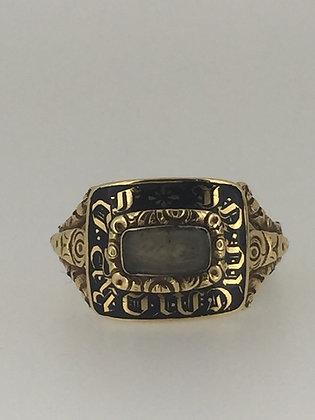 Black Enamel & Crystal Memorial Ring