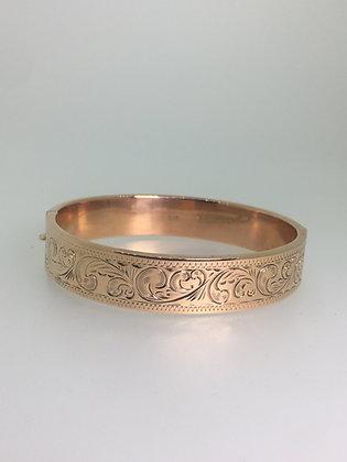 Finely Engraved 9ct Rose Gold Vintage Bangle