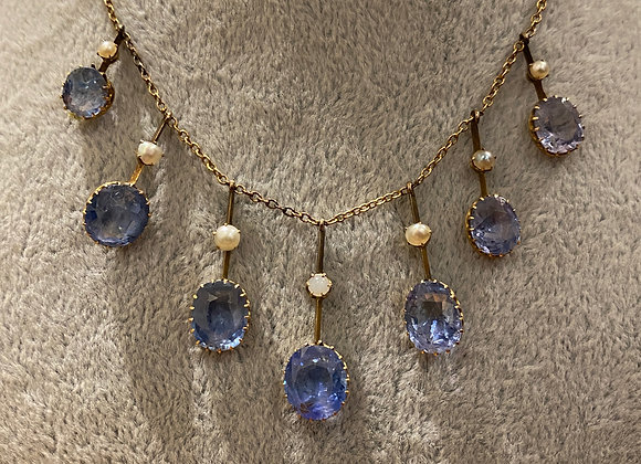 Antique 14.50ct Sapphire, Seed Pearl, Gold Fringe Necklace