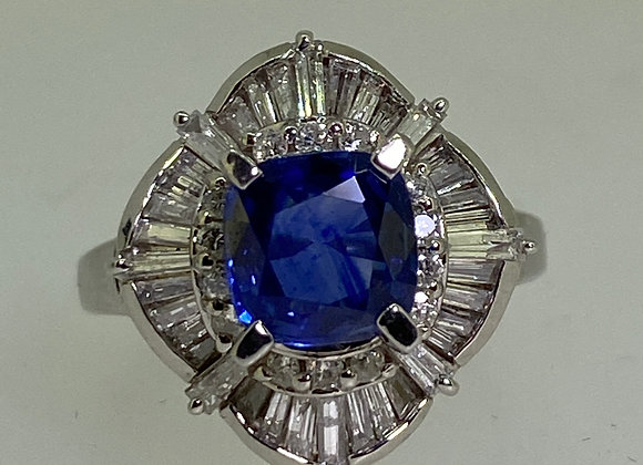 Magnificent 1.86ct Royal Blue Sapphire Diamond Platinum Ring
