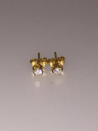 18K Yellow Gold & 0.125ct Diamond Stud Earrings