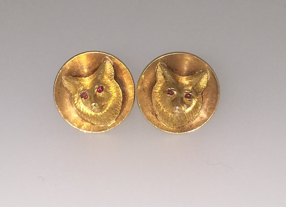 Gold & Ruby Ear Clips