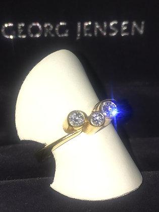 "Georg Jensen 18K Yellow Gold & Diamond ""The Cascade"" Ring"