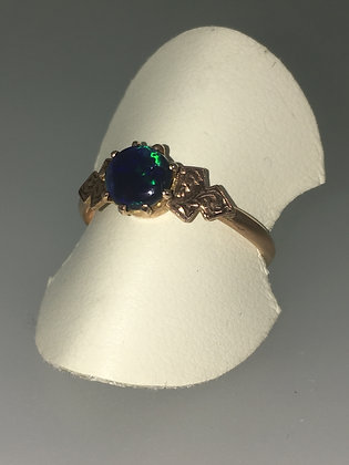 Solid Black Cabochon Opal Ring in 9K Yellow Gold