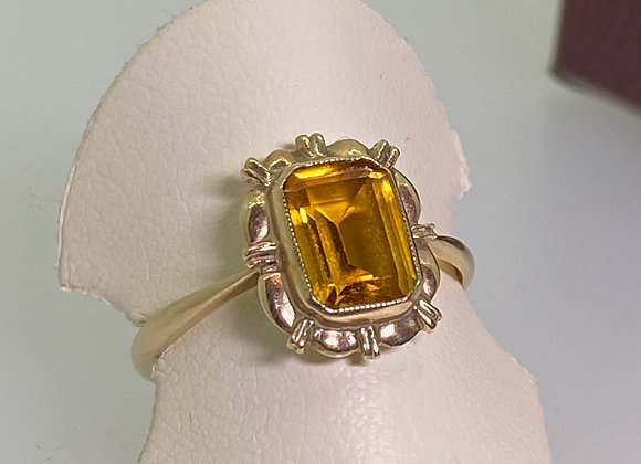 1.75ct Emerald Cut Golden Citrine Ring in 14K Yellow Gold