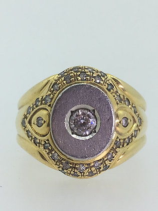 18K Yellow Gold, Platinum & Diamond Mens' Signet Style Mens' Ring