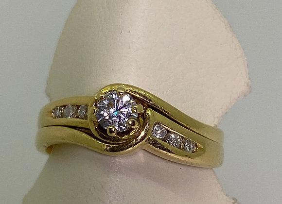 18K Yellow Gold & Diamond Set: 0.25ct Diamond Engagement Ring & Wedding Band.