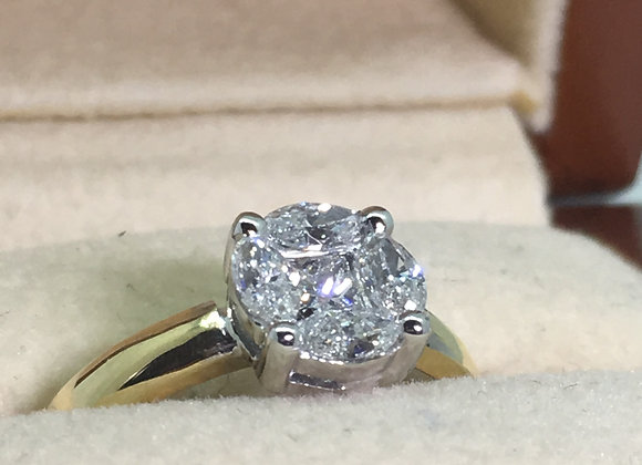 0.78ct Cluster Diamond Ring in Illusion Setting in 18K Gold