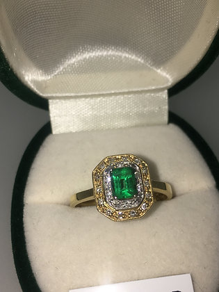 Colombian Emerald & Diamond Ring In 18K White & Yellow Gold