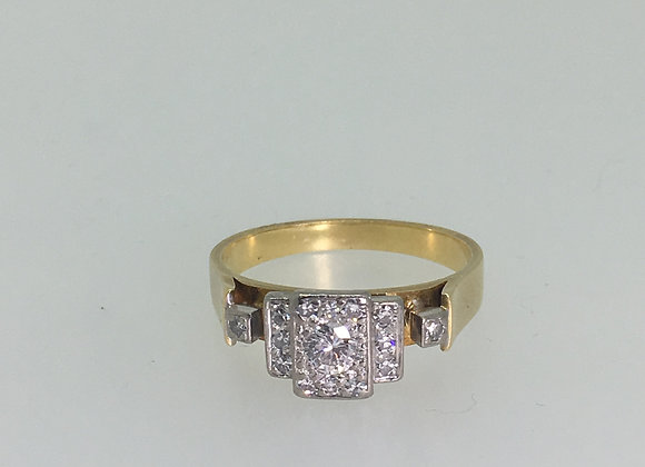 18K Yellow Gold & Transitional Cut Diamond Cluster Ring
