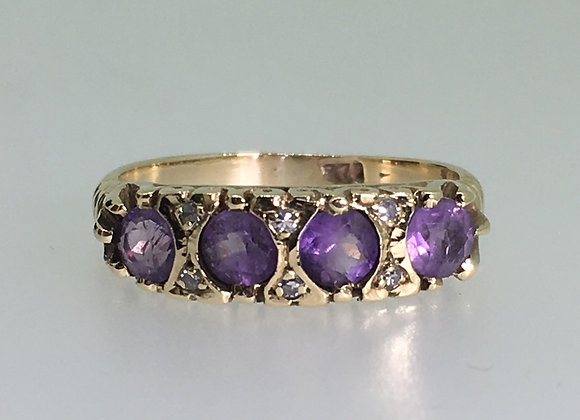 Amethyst & Diamond Half Hoop Ring in 9K Rose Gold
