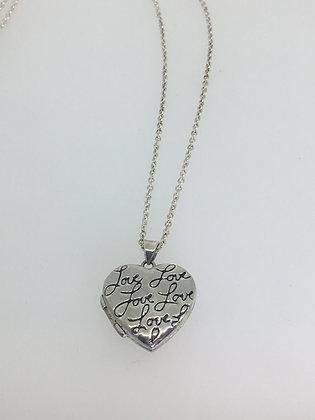 "925 Silver Heart-Shaped ""Love"" Pendant Locket on Tiffany & Co Chain"