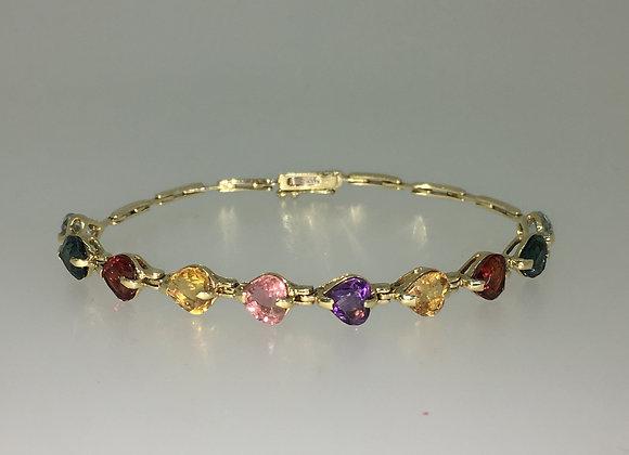 14K Gold Multi Gem Vintage Bracelet
