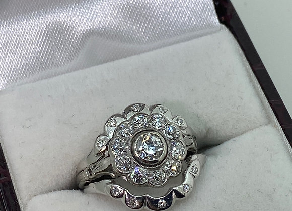 0.73ct Old-Cut Engagement Ring & 0.10ct Wedding Bands In Platinum