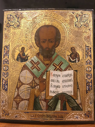 An Antique Russian second half of XIX century Saint Nicholas Icon