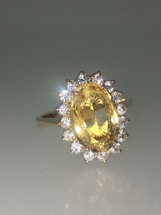 Citrine & Diamond Flower Shaped Ring in 18K Rose Gold