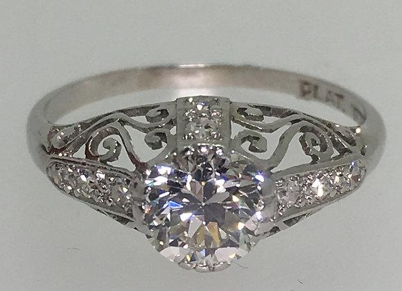 1.06ct Old Cut Diamond Ring in 18K Gold/Platinum