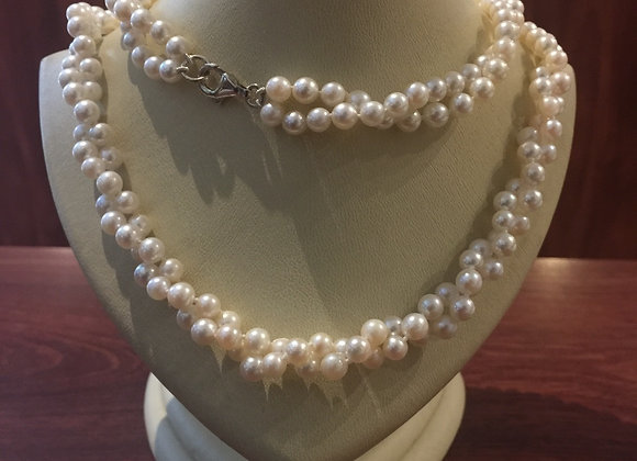 Opera Length Double Strand Torchon Pearl Necklace