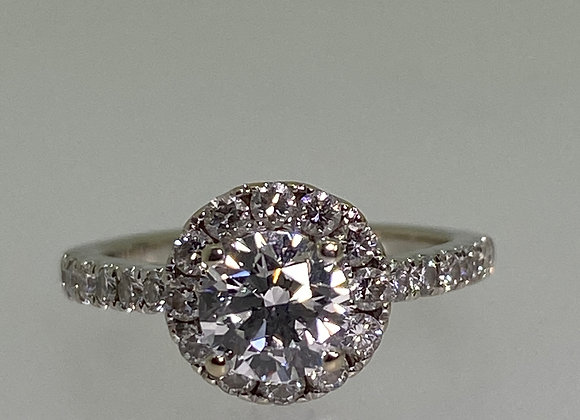 0.61ct Diamond Engagement Halo Ring in 18K Gold. E/VS2, Triple Excellent, GIA.