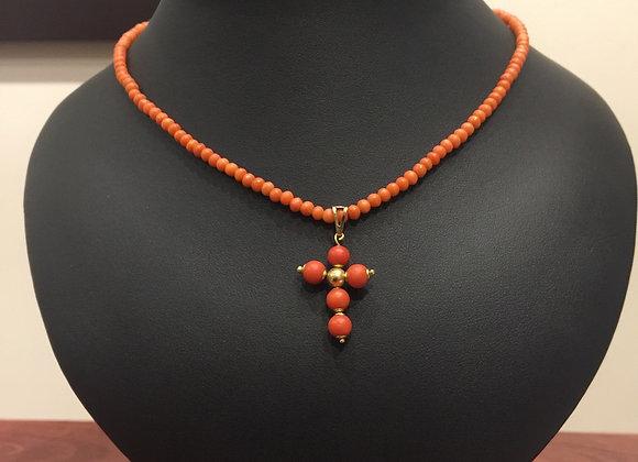 Vintage Mediterranian Gold & Coral Necklace