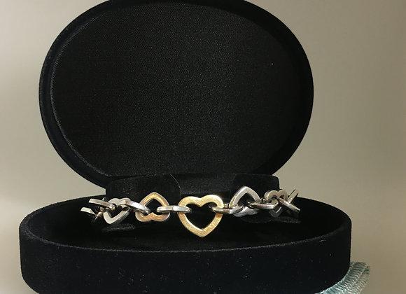 Tiffany & Co 18K Yellow Gold & 925 Silver Hearts Link Bracelet