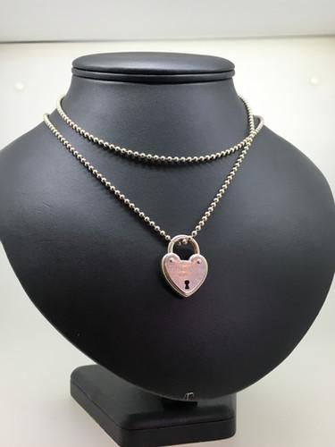 4cdebb510 Tiffany & Co 925 Silver Arc Heart Lock Padlock Keyhole Pendant + Chain