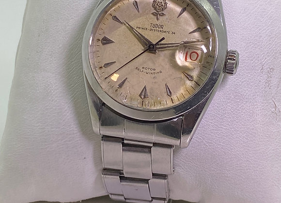"Tudor Rolex ""Big Rose"" Prince-Oysterdate 34 Roulette Date Automatic Watch, c1957"