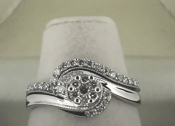Pair of White Gold and Diamond Matching Rings