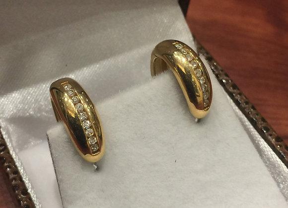 18K Yellow Gold & Diamond Half Hoop Vintage Earrings