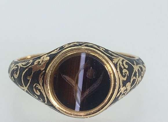 Antique 18ct Gold & Banded Agate Intaglio Signet Memorial Ring