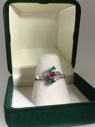 Ruby, Emerald & Diamond Dress Ring in 18K White Gold