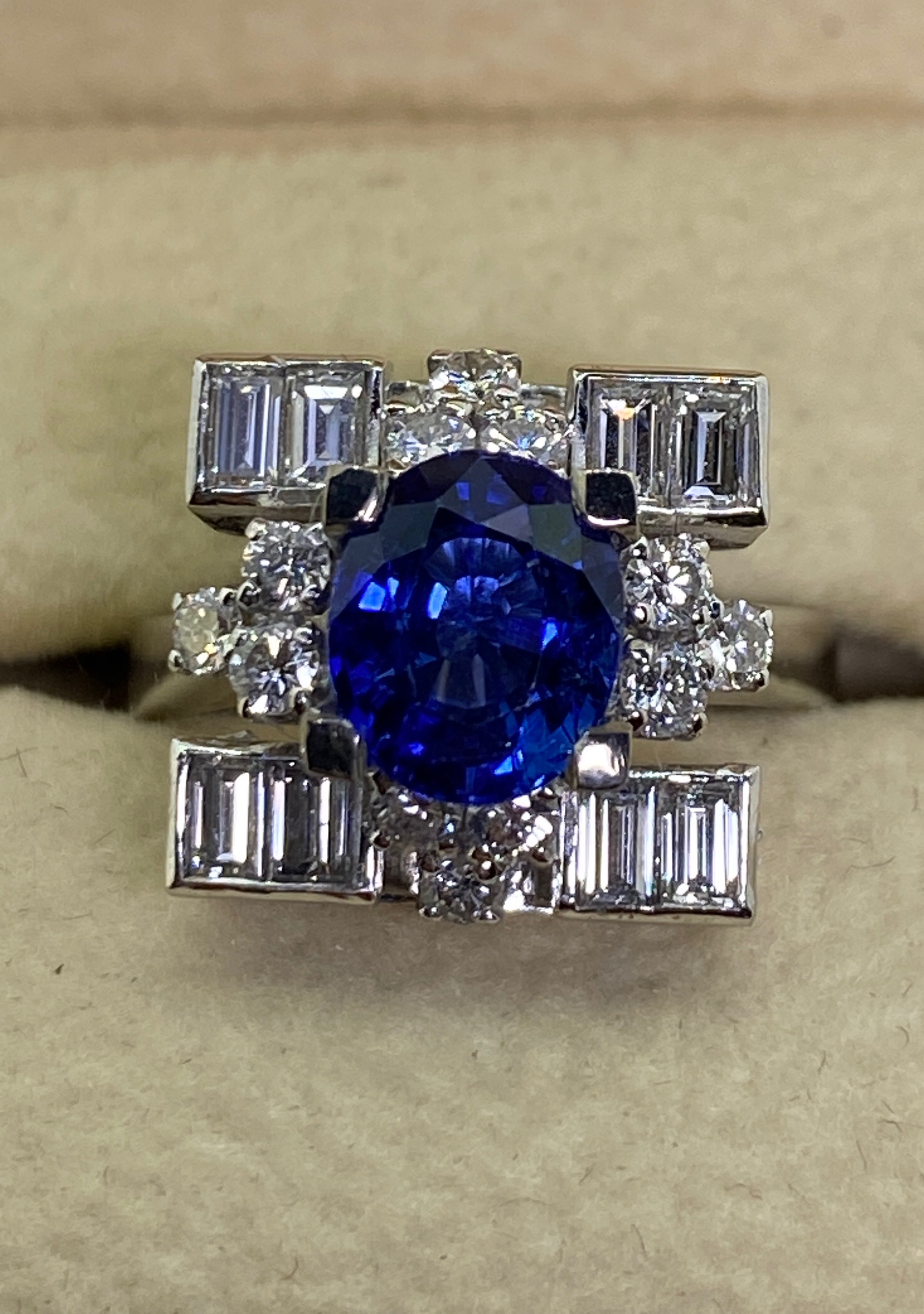 2.18ct Royal Blue Sapphire & Diamond Ring