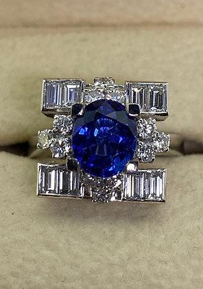 Royal Blue Sapphire & Diamond Ring in 18K White Gold