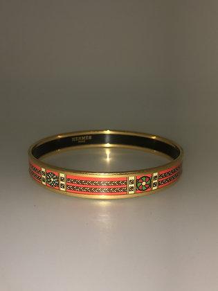 18K Gold-Plated & Orange Enamel Hermes Bangle