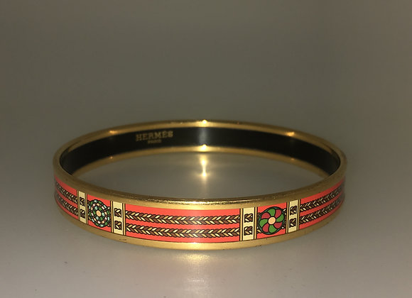 18K Gold-Plated & Orange Enamel Hermes Bangle