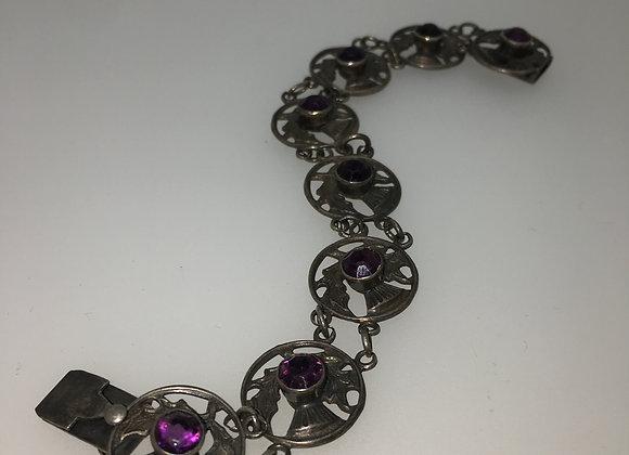 925 Silver & Amethyst Scottish Thistle Bracelet