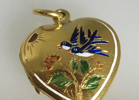22K Yellow Gold & Champlevé Enamel Heart-Shaped Locket