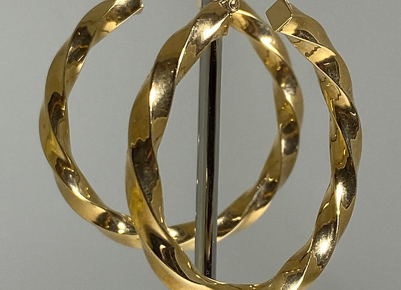 9K Yellow Gold Twisted Hoop Earrings, Italy.