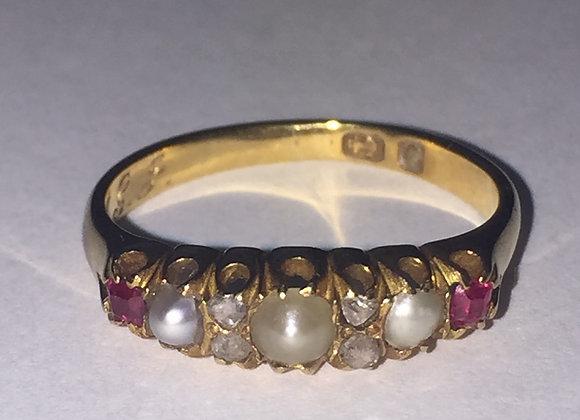 Garnet, Seed Pearl & Diamond Gold Ring