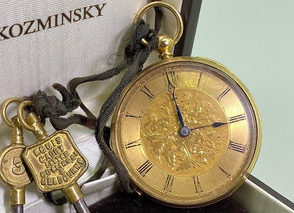 18K Gold Open Face Pocket Watch made by Sir John Bennett