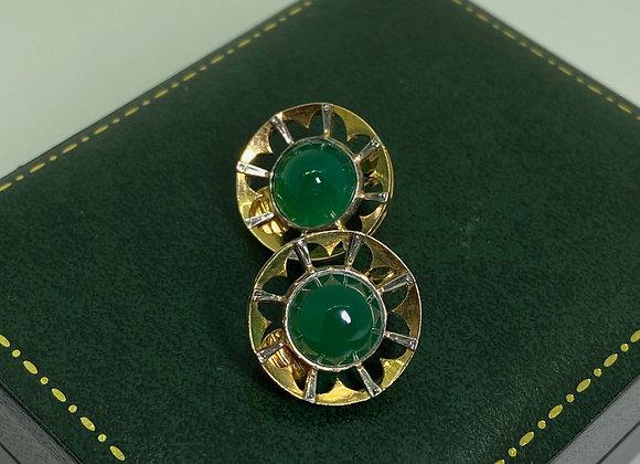 Chrysoprase, 18K Yellow Gold & Platinum Vintage Clip on Earrings